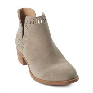 Lucky Brand | Suede Laser Cut Slip On Booties